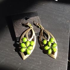Earrings Green statement piece Jewelry Earrings