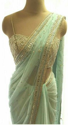 By designer Arpita Mehta. Bridelan- Personal shopper & style consultants for Indian/NRI weddings, we Saree Designs Party Wear, Party Wear Sarees, Saree Blouse Designs, Indian Wedding Outfits, Indian Outfits, Indian Dresses, Saree For Wedding, Designer Sarees Wedding, Indian Clothes