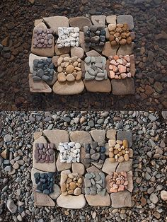 Pebble Square Diptych - Land Art ≈≈ Art Connection, Outdoor Learning, Outdoor Play, Outdoor Ideas, Found Object Art, Zen Art, Nature Crafts, Environmental Art, Beach Art