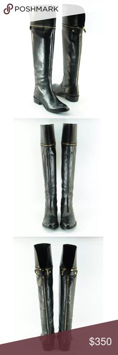 SAKS Leather Riding Boots the perfect everyday riding boot and they're adjustable! Saks Fifth Avenue Black Label Shoes Over the Knee Boots