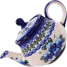 Polish Pottery Ceramika Boleslawiec,  0105/162, Teapot Fruti, 3 1/4 Cups, Royal Blue Patterns with Blue Pansy Flower Motif by Lidia's Polish Pottery, Inc., http://www.amazon.com/dp/B006BE74B2/ref=cm_sw_r_pi_dp_djmHqb1EXKFRT