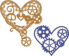Cheery Lynn Designs - Hearts 'n Gears (Set of 2) (Steampunk Series) - B378, $12.95 (http://www.cheerylynndesigns.com/hearts-n-gears-set-of-2-steampunk-series-b378/)