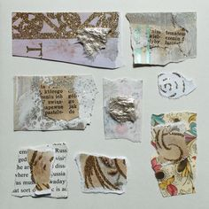 LABEDZKI abstract art collage COLLAGE #4 handmade card 5.5x5.5 in ivory  #Abstract