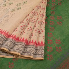 Buy online Hand Block Printed Cream Chanderi Silk Cotton Saree With Floral Motifs, Temple Border & Without Blouse 10013012