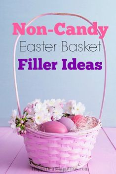 Here is a great list of non-candy Easter Basket filler ideas for your kiddos. If you are anything like our family, my kids still have candy from Christmas and Valentine& Day that hasn& been eaten - and I don& want to get them an Easter Basket full of M Summer Activities For Kids, Diy For Kids, Easter Baskets For Toddlers, Toddler Gifts, Easter Crafts, Kids Crafts, Happy Day, Easter Eggs, Hoppy Easter