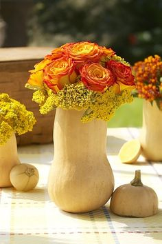 #Fall Decor: Gourds come in all shapes and colors and easily become seasonal vases. Cut a hole big enough to accommodate a couple of florist tubes. Insert flower stems for a unique bud vase.