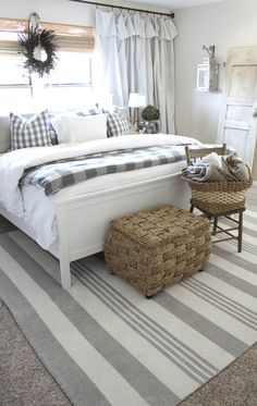 gray and white country style bedroom, pantone neutral gray, gray interiors