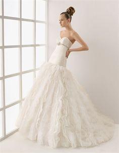 Gorgeous Vintage satin ball gown neckline strapless court sweep wedding dresses MLVB0064