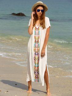 Vestido estampado abertura lateral maxi -blanco-Spanish SheIn(Sheinside)