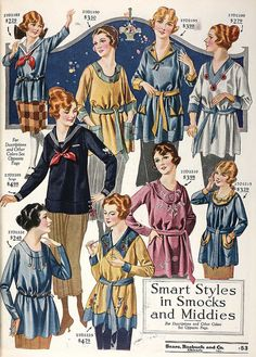Smart styles in (1920s) Smocks and Middies.