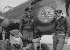"85th FS 79th FG ""Flying Skull"" pilots after downing 3 German fighters on Feb. 7, 1944 L-R 1Lt Duffield FW-190, 2Lt Higgins ME-109 & 2Lt Granberg FW-190"