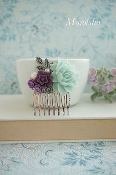 Mint Rose, Dark Purple, Grey, Gray, Ivory Amethyst, Mint Flowers Silver Plated Hair Comb. Bridesmaid Gifts Mint Wedding, Purple, Mint Green