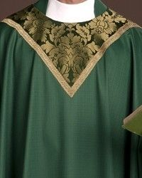 The Holy Rood Guild > Chasubles & Copes > Cloisters Green Chasuble: green liturgical vestment for priest or deacon Table Signs, Priest, Custom Items, Damask, Green, Damascus, Damasks