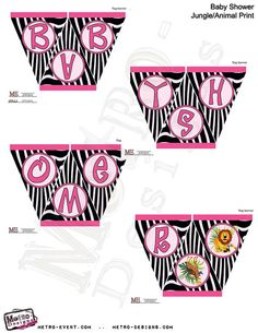 Instant Download - Animal Print Baby Shower Banners
