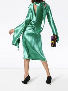 Christopher Kane tie-back satin dress - Buy Online - Mobile Friendly, Fast Delivery Christopher Kane, Tie Backs, Dress Backs, Shops, British Fashion Awards, Open Back Dresses, Green Satin, Vogue Fashion, International Fashion