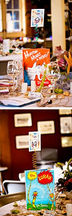 love these childhood books as wedding centerpieces