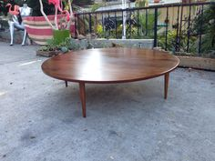 Mid century walnut round coffee table