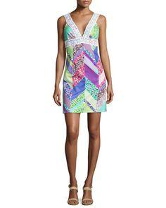 Secret Sleeveless Mixed-Print Dress by Trina Turk at Neiman Marcus.