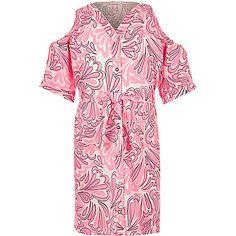 Girls pink printed cold shoulder dress