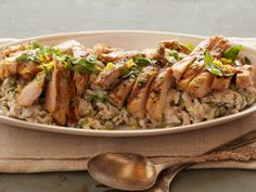 Creamy Lemon-Pepper Orzo with Grilled Chicken, this simple orzo takes half the time of risotto! Rich cheese and cream are switched out for greek yogurt and goat cheese! 9.5g of Fat, 21g of protein and 37g of carbs!