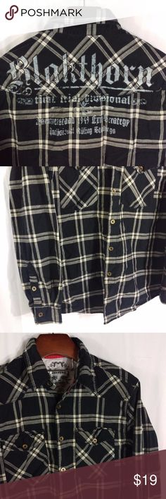 "Modern Culture Shirt Plaid Button Down Blackthorn Modern Culture Urban Button Down   100% Cotton  Size L - slim fit Chest - 22"" across Sleeve - 24.5""  Shoulder - 6"" Length - 30""  Excellent condition. Smoke free. ECT1 Modern Culture Shirts Casual Button Down Shirts"
