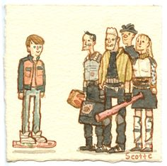 Watercolor of initiation of chase scene in BTTF2.