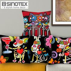 Find More Cushion Cover Information about 1 PCS 43*43cm Cute Sugar Skull Mouse Cushions Linen Cushion Cover Lovely  Animals Throw Pillow For Living Room Bed Room,High Quality pillow cooler,China cushion covers for pillows Suppliers, Cheap pillow sponge from The Home Shop on Aliexpress.com