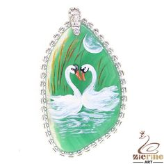 Elegant Fashion  Pendant Hand Painted swan Natural Gemstone   ZL10005 #ZL #Pendant