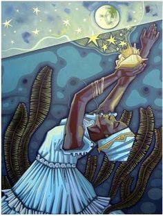 Founded on August 2014 for you that is Umbanda root and true (a). African Mythology, African Goddess, Black Women Art, Black Art, Yemaya Orisha, Yoruba Orishas, Sacred Feminine, Goddess Art, Afro Art