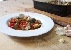 Hugh's clams, tomatoes and garlic   Very nice - would make a great starter.