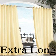 Create some backyard privacy and ambiance!  Extra Long Outdoor Curtain | Natural Gazebo Solid Grommet Top Indoor Outdoor 108in Long Curtain Panel at BedBathHome.Com