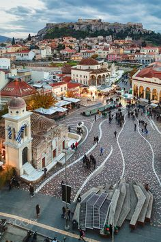 Athens view - The view from the top of the A for Athens hotel. Monasterial Square, Plaka and the Acropolis all in one shot. European Destination, European Travel, Places To Travel, Places To See, Zakynthos, Athens Hotel, Travel Aesthetic, Greek Islands, Greece Travel