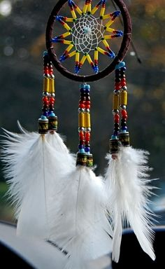 Native American beads on leather thongs with feathers, sort of traditional design.