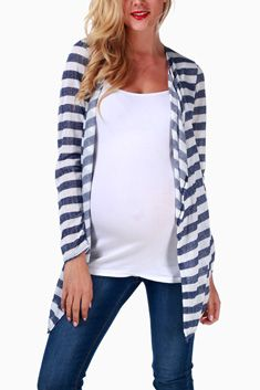 Navy Blue White Striped Maternity Cardigan #maternity #fashion