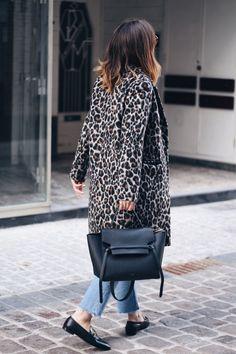 the_leopard_print_coat, wearing topshop_leopard_print_coat-white_shirt-graphic_tee-weekday_denim_jeans-gucci_horsebit_loafers-celine_belt_bag