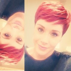 easy short red pixie cut with bangs