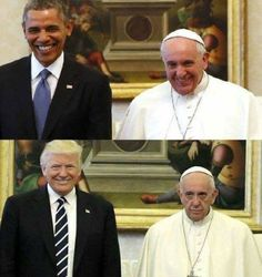 This will always be one of my favorite pix of Trump vs Obama. Pope Francesco is amazing! Donald Trump, Barack Obama, Obama Funny, Trump Lies, Black Presidents, Michelle Obama, Stupid Funny Memes, Hilarious, K Pop