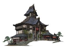 The story is this house belong to a traveler from far east but located in a fantasy world . So the architectural style contains both european style and oriental style.Hope the steps are useful.