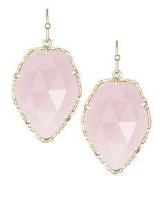 Corley Drop Earrings in Rose Quartz - Rose Quartz stones add a feminine touch to the Corley drop earrings by Kendra Scott.
