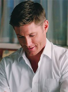 "gifset--Dean in the white shirt ""I bought an app!"""