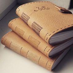 Kožené zápisníky s menom / A6 / long stitch / personal book / notes / leather journal / handmade / bookbindnig / http://www.ardeas.sk/