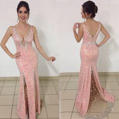 Buy Elegant Long Prom Dress - V-Neck Sequins Split with Beading Prom Dresses 2016 under $168.99 only in Dressywomen.