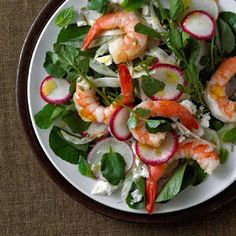 Shrimp With Feta, Radish, Watercress, and Mint - shrimps are high in protein and very low in fat, great for when you're on a diet