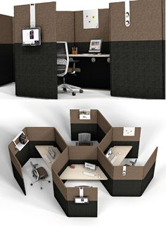 LINK - Modular system for creating workspaces New trends in office design suggest private spaces combined with other open and collaborative, wher Diy Furniture Renovation, Diy Furniture Cheap, Office Furniture Design, Office Interior Design, Office Interiors, Furniture Legs, Garden Furniture, Design Offices, Modern Offices