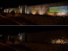 Arriba, la muralla de Jerusalem encendida y abajo con las luces apagadas / Reuters Día de la Tierra http://www.rtve.es/
