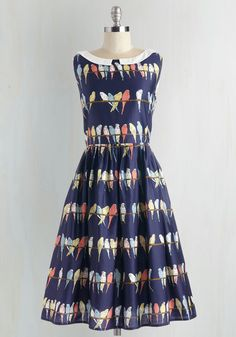 Two Tickets to Parakeet Dress. Sweep yourself away to a world of charm by slipping into this navy-blue frock. #multi #modcloth