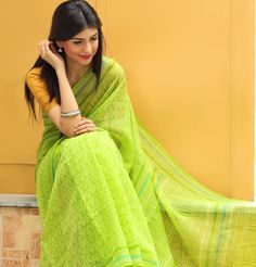 #sari #kota #print #summer #lime #green #colours #refreshing #soothing #light #breezy #women #fashion #Fabindia