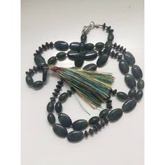 Hand Knotted Green Jade Semi Precious Stones Necklace, Women Jewelry,... ($45) ❤ liked on Polyvore featuring jewelry, necklaces, boho necklace, semi precious stone necklace, long necklaces, green necklace and multicolor tassel necklace