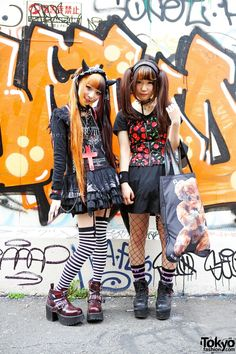 Ringo and Kurousagi are two friends – both wearing twin tails, striped socks and mini skirts – who were met on the street in Harajuku. (Tokyo Fashion, 2014)