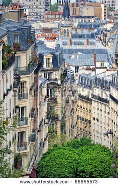 Roofs in residential quarter of Montmartre in Paris